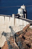 USA, Nevada, Las Vegas Area, The Hoover Dam, high vantage view from the Pat Tillman Memorial Bridge, Rt  93