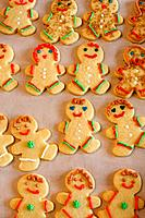 Decorated holiday cookies in the shape of gingerbread men