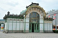 Karlsplatz Pavilion built by the architect Otto Wagner in between 1898 and 1899 for the subway station exit, Vienna, Austria