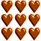 Milk chocolate and vanilla hearts seamless tiling background texture pattern
