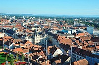 Panoramic oulook of the city from the Schlossberg viewpoint, Graz, Styria, Austria