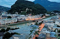 Salzach river running throuhg Salzburg as seen from the Mönchsberg's viewpoint, Austria