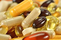 Composition with dietary supplement capsules  Variety of drug pills