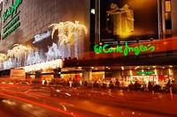 Christmas lights on El Corte Ingles department store in Las Palmas, Gran Canaria, Canary Islands, Spain