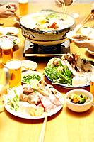 People eating Nabe, Tokyo Prefecture, Japan