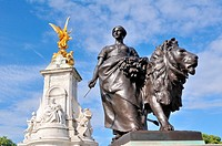 Queen Victoria Memorial, woman and lion, at London, England, Great Britain