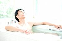 Man taking a bath, Hyogo Prefecture, Honshu, Japan