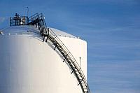 stairway on side of oil tank, fort saskatchewan, alberta, canada