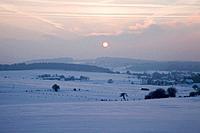 winter sunrise, westerwald rhineland_palatinate germany