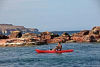 a father and son paddle in a red boat at los islotes national marine park espiritu santo island, la paz baja california mexico