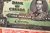 close_up of an old canadian one dollar bill