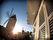 Majorcan windmill at sunset