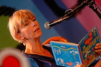 Amsterdam NL - Manuscripta Literary Fair - Childrens author Francine Oomen reads from her latest book, 'How overleef ik de puberteit '
