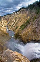 Looking down the Yellowstone River Canyon, from Lower Yellowstone Falls, Yellowstone National Park, Wyoming