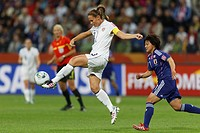 FRANKFURT, GERMANY - JULY 17: United States team captain Christie Rampone kicks the ball during the FIFA Women´s World Cup final against Japan July 17...