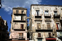 The crumbling palaces in Vucciaria district, Palermo, Italy