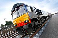 England, Shropshire, Telford. A freight train at Donnington Rail Freight Depot