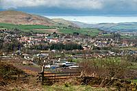 England, Northumberland, Wooler. The north Northumberland town of Wooler on the edge of the Cheviot Hills and Northumberland National Park.