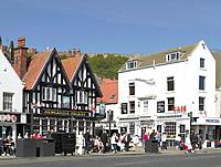 England, North Yorkshire, Scarborough. Bars and cafes along Foreshore Road on the seafront at Scarborough.