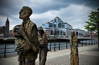 memorial to the famine victims near the customs house on the river liffey, dublin city ireland