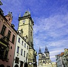 Old town City hall tower and Tyn church, Prague, Czech Republic