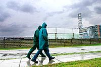 people walking near the Chornobyl Nuclear Power Plant