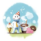 illustration, snowman, coffee,doughnut, donut, ice cream