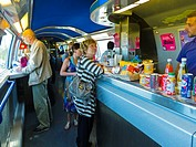France, People in Dining Car of TGV Bullet Train