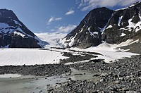 Steindalsbreen glacier, Lyngen Alps, region of Lyngen, County of Troms, Norway, Northern Europe