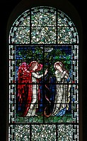 Epiphany Chapel window, Glasfenster mit Verkündigungsszene von Edward Burne_Jones Entwurf, Ausführung in der Werkstatt von William Morris 1910