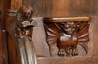 Chorgestühl, Detail lesender Mönch und Dämon