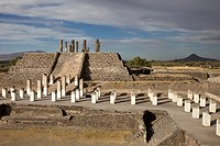 Overview of the ancient Toltec capital city of Tula or Tollan in Central Mexico
