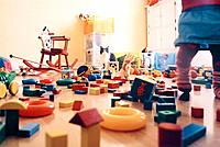 Girl and Cat in Playroom