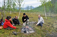 campfire, Nordmannvikdalen valley, region of Lyngen, County of Troms, Norway, Northern Europe