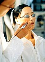 Woman being treated by laser