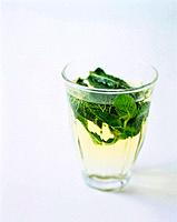 Peppermint leaves in glass of water