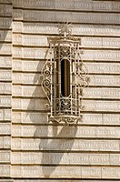 Original window with ornate grille, New York City, state of New York, United States, USA