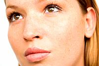 Close up of a woman with freckles