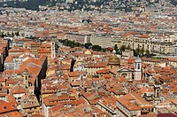overview of the Vieux-Nice from a Castle's terrace Nice, Alpes-Maritimes department, Provence-Alpes-Cote d'Azur region, southeast of France, Europe