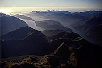 Aerial view of Dusky Sound fiord, Fiordland National Park, West Coast, South Island, New Zealand, Oceania