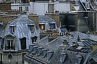 Paris apartments in the evening light, rooftops of Paris, turn of the century, Paris, France