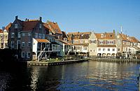 Houses along the canal Spui at the town of Enkhuizen, North Holland, Netherlands, Europe