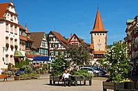 Market place and the city gate Obertor at the town of Gengenbach, Summer, Gengenbach, Ortenaukreis, Black Forest, Baden_Wuerttemberg, Germany, Europe