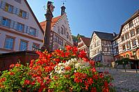 Half_timbered houses and town hall at the market place in the town of Schiltach, Summer, Valley Kinzigtal, Southern Part of Black Forest, Black Forest...