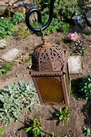 metal lantern in garden  Worksop, Notts, England