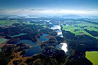 Aerial view of the Eggstatt Lakes, Eggstatt Lakes Area, Nature Reserve, Chiemgau, Upper Bavaria, Bavaria, Germany