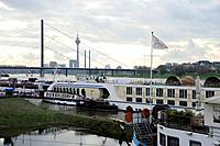 Excursion boats in front of the Oberkasseler Bridge, Tonhallenufer quay, Pempelfort quarter, Duesseldorf, Duesseldorf, Rhineland, NRW, North Rhine_Wes...