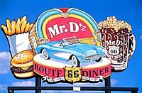 Sign of fast food restaurant at the Route 66 in Arizona, USA