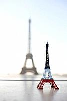 Replica of Eiffel Tower with original one in the background, Paris, Ile_de_France, France