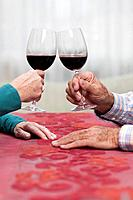 Hands of old people bringing a toast with red wine